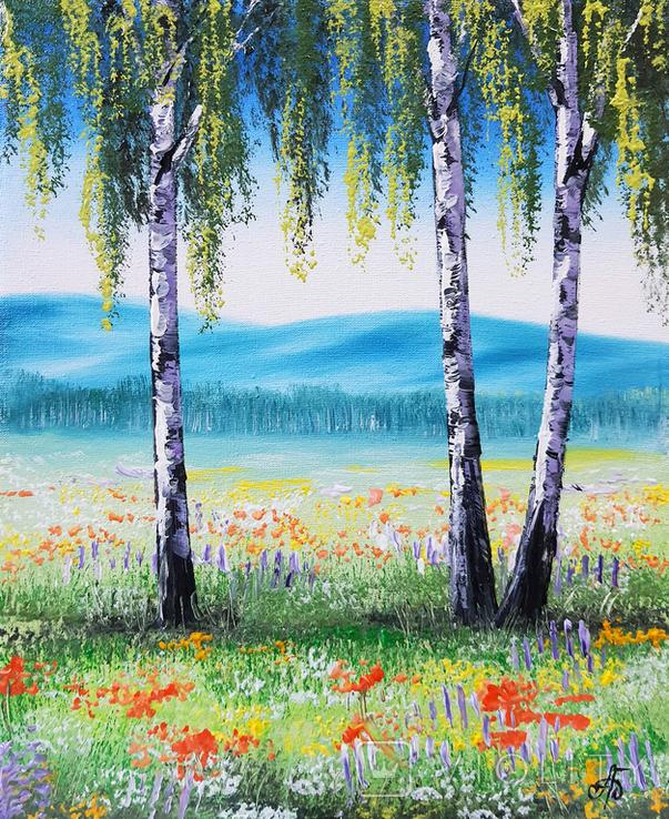 Картина, Берези на квітучому лузі, 25х30 см. Живопис на полотні, фото №2