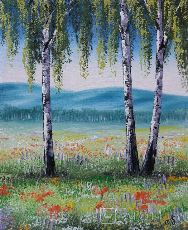 Картина, Берези на квітучому лузі, 25х30 см. Живопис на полотні, фото №4