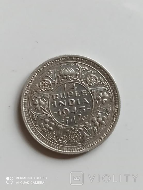 Британская Индия. 1/4 рупии, 1943 год., фото №2