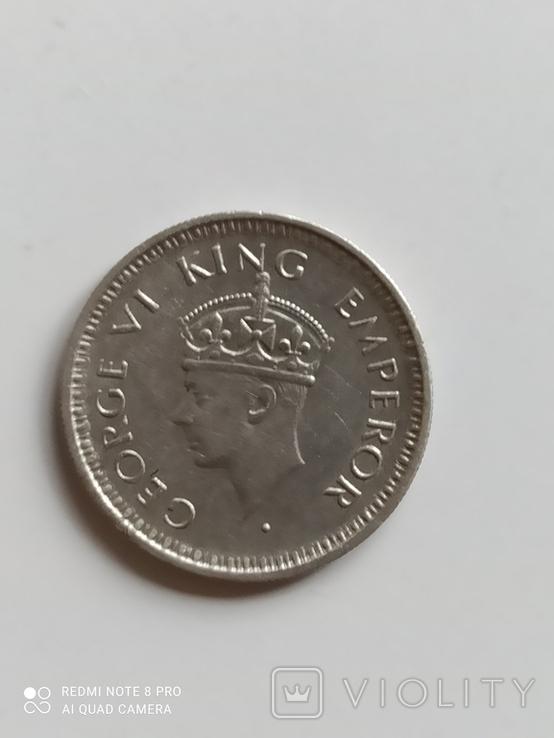 Британская Индия. 1/4 рупии, 1943 год., фото №4