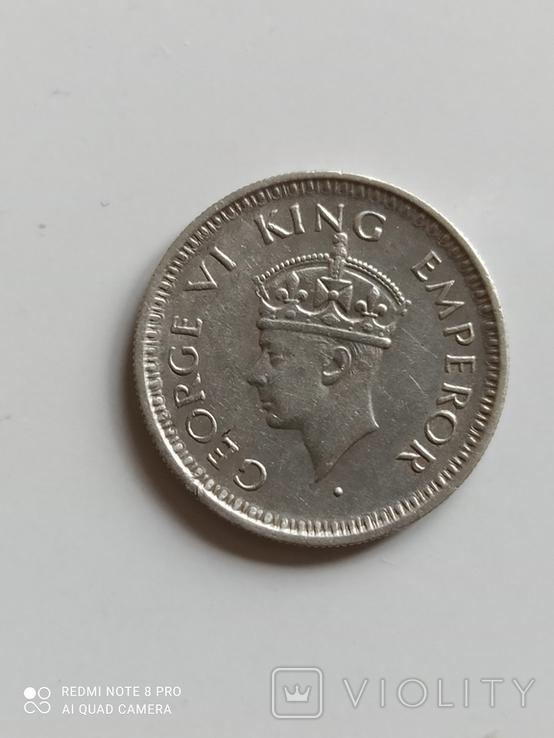 Британская Индия. 1/4 рупии, 1943 год., фото №5