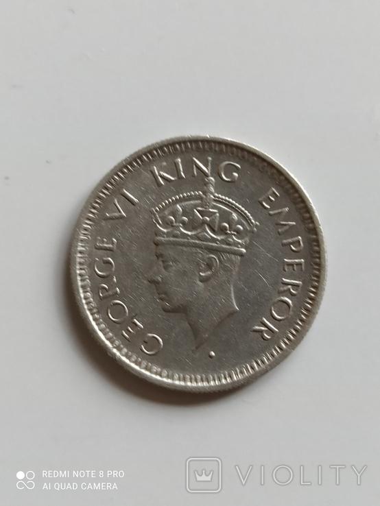 Британская Индия. 1/4 рупии, 1943 год., фото №6