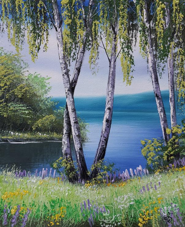 Картина, Берези біля води, 25х30 см. Живопис на полотні, фото №4