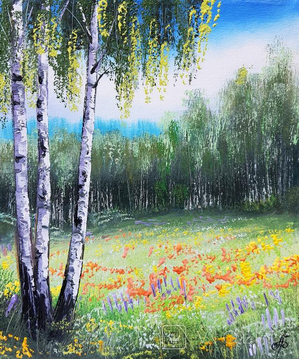 Картина, Яскрава галявина, 25х30 см. Живопис на полотні, фото №2
