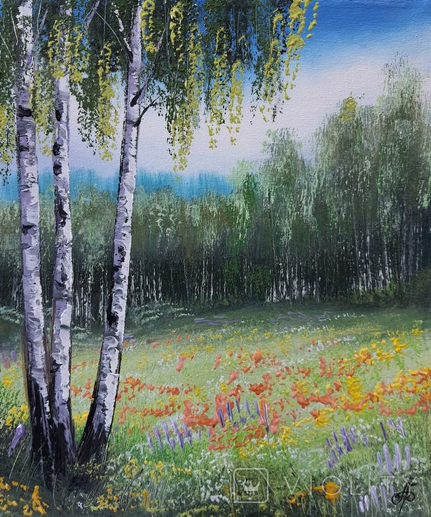 Картина, Яскрава галявина, 25х30 см. Живопис на полотні, фото №4