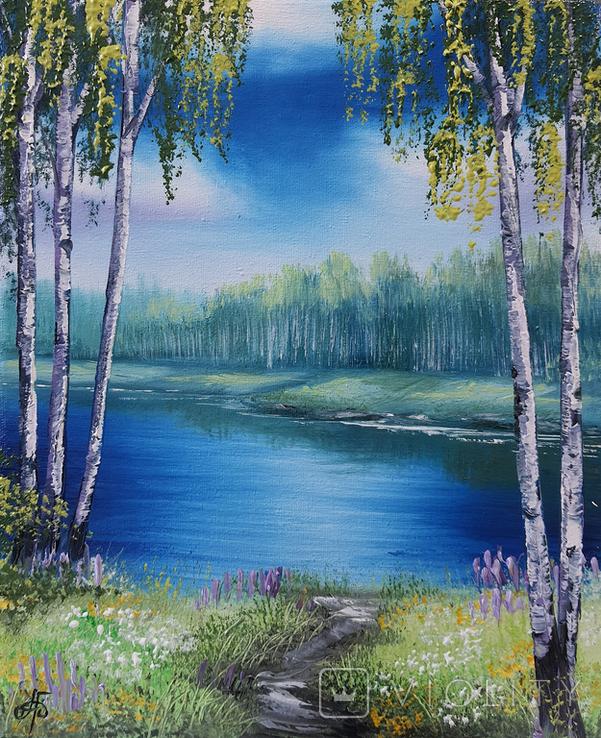 Картина, Стежка до річки, 25х30 см. Живопис на полотні, фото №3