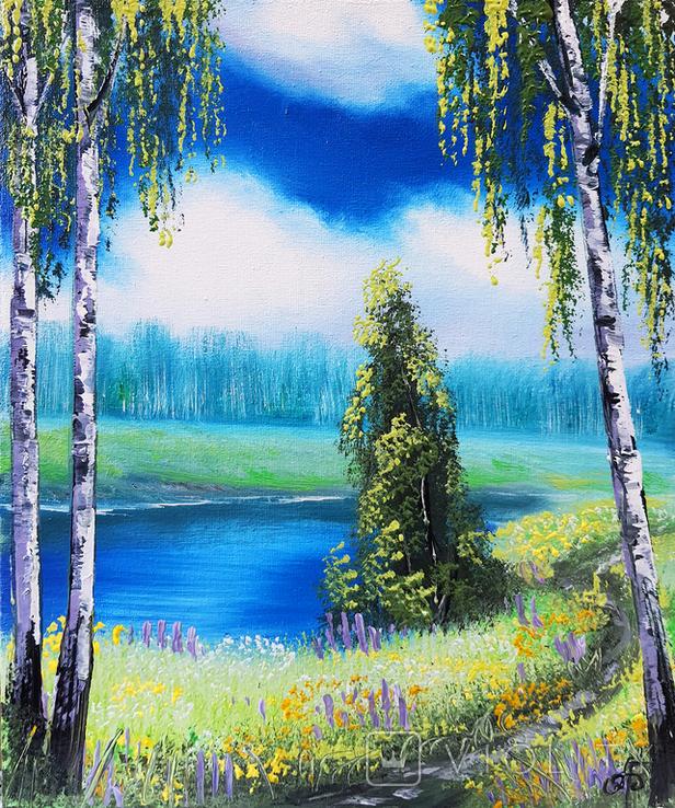 Картина, Стежина біля ставу, 25х30 см. Живопис на полотні, фото №2