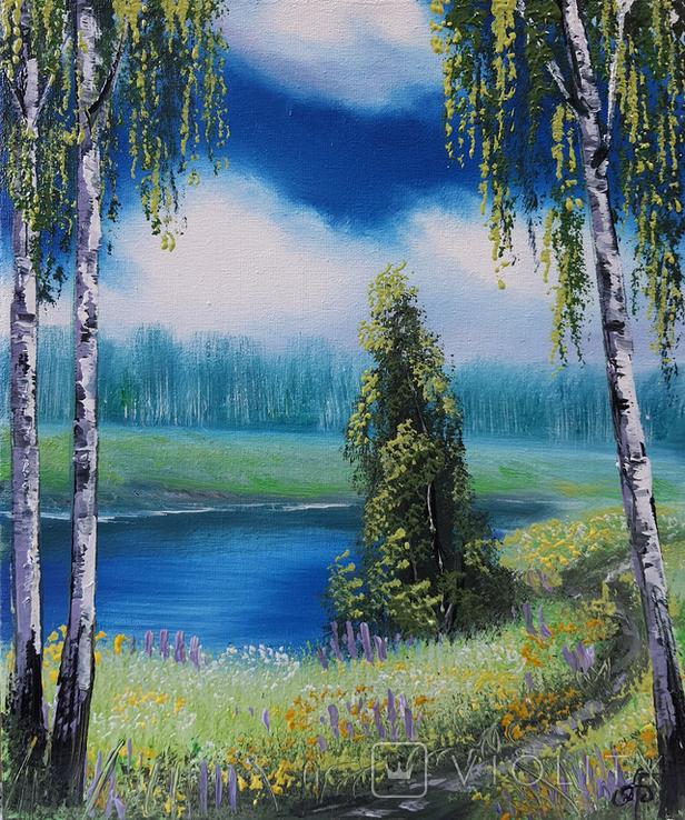 Картина, Стежина біля ставу, 25х30 см. Живопис на полотні, фото №3