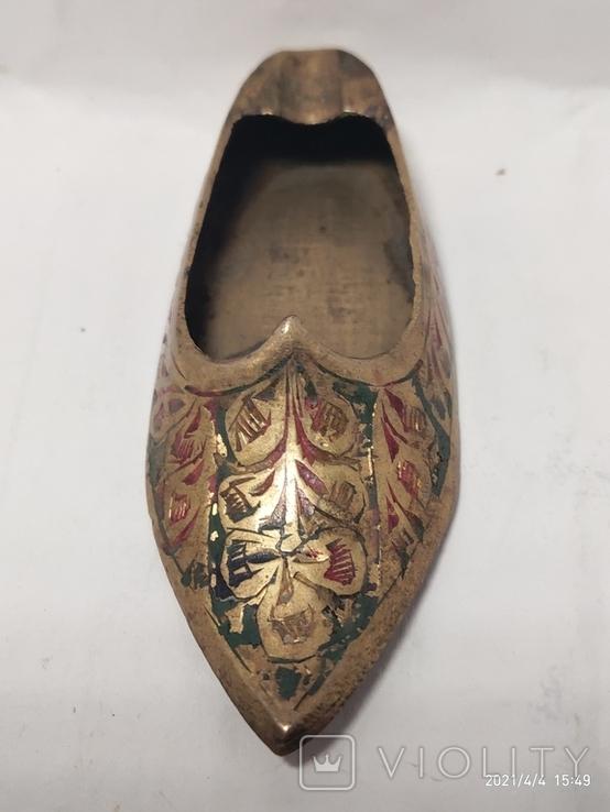Пепельница в форме туфли,бронза., фото №2