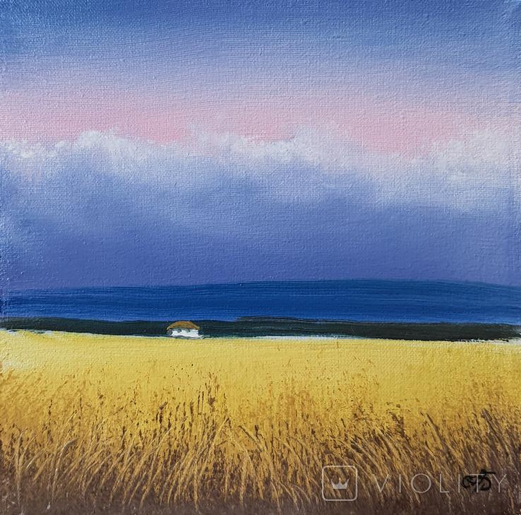 Картина, Закохана хмарина, 15х15 см. Живопис на полотні, фото №3