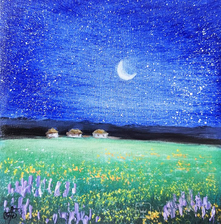 Картина, Хуторець під зорями, 15х15 см. Живопис на полотні, фото №2