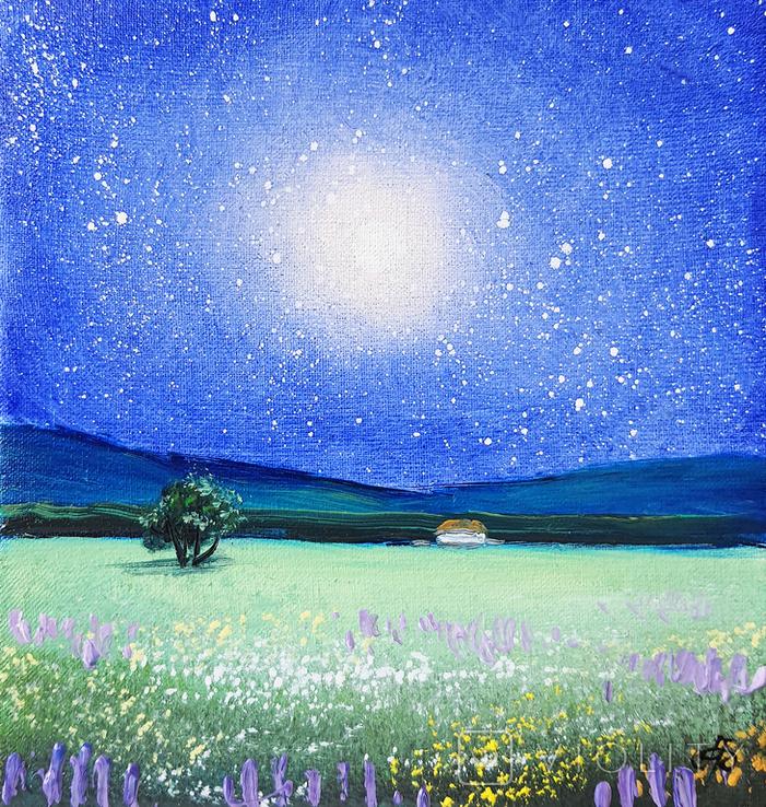 Картина, Місячне сяйво, 15х15 см. Живопис на полотні, фото №2