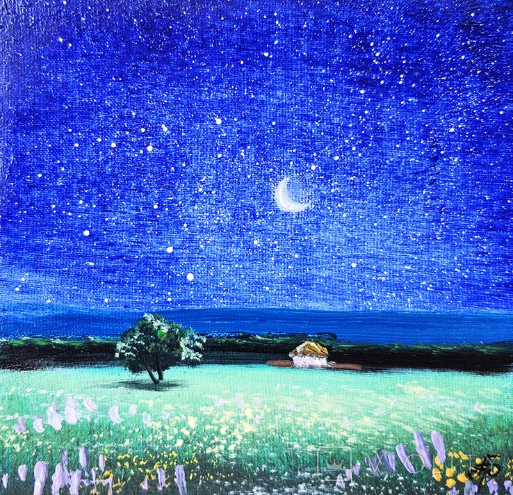 Картина, Зоряна ніч, 15х15 см. Живопис на полотні, фото №2