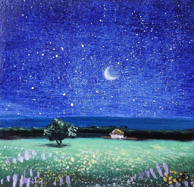 Картина, Зоряна ніч, 15х15 см. Живопис на полотні, фото №4