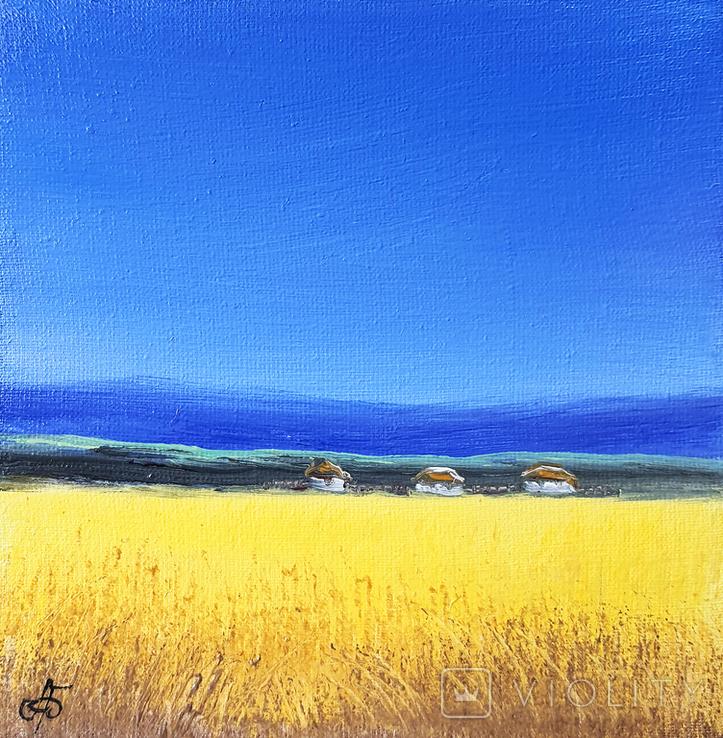 Картина, Жовто-блакитне, 15х15 см. Живопис на полотні, фото №2