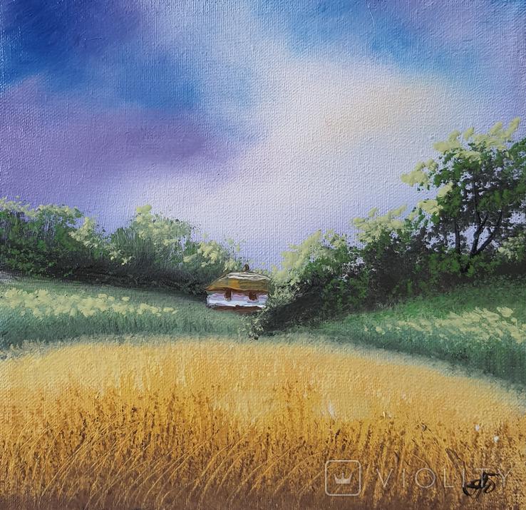 Картина, Поезія неба, 15х15 см. Живопис на полотні, фото №3