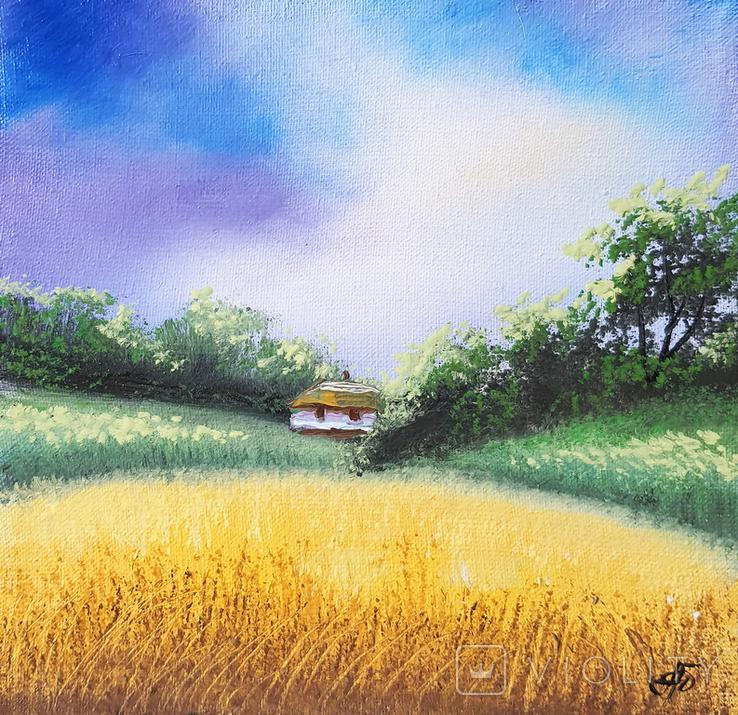 Картина, Поезія неба, 15х15 см. Живопис на полотні, фото №2
