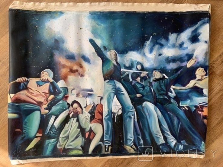 Картина. Болельщики на стадионе. 118 / 82, фото №2