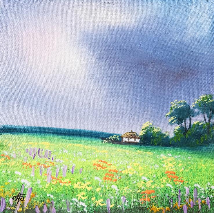 Картина, Довгоочікуваний дощ, 15х15 см. Живопис на полотні, фото №2