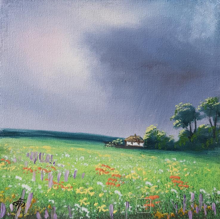Картина, Довгоочікуваний дощ, 15х15 см. Живопис на полотні, фото №3