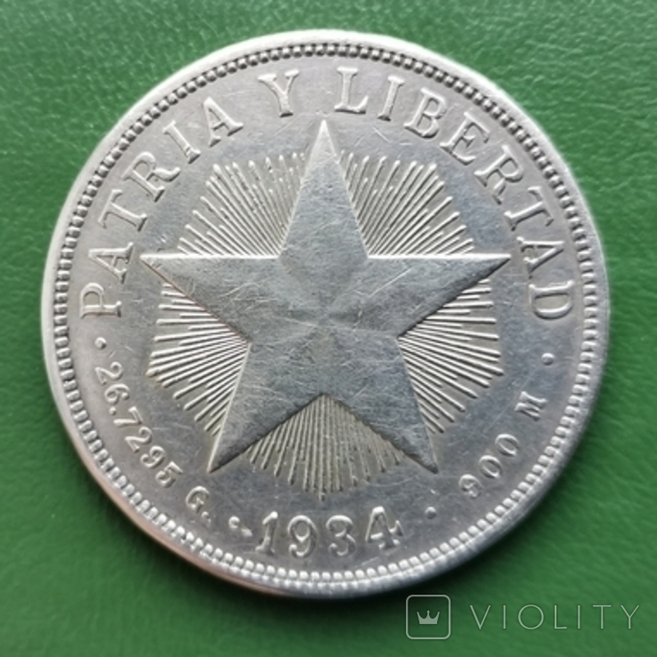 1 песо Куба 1934 г.серебро, фото №2