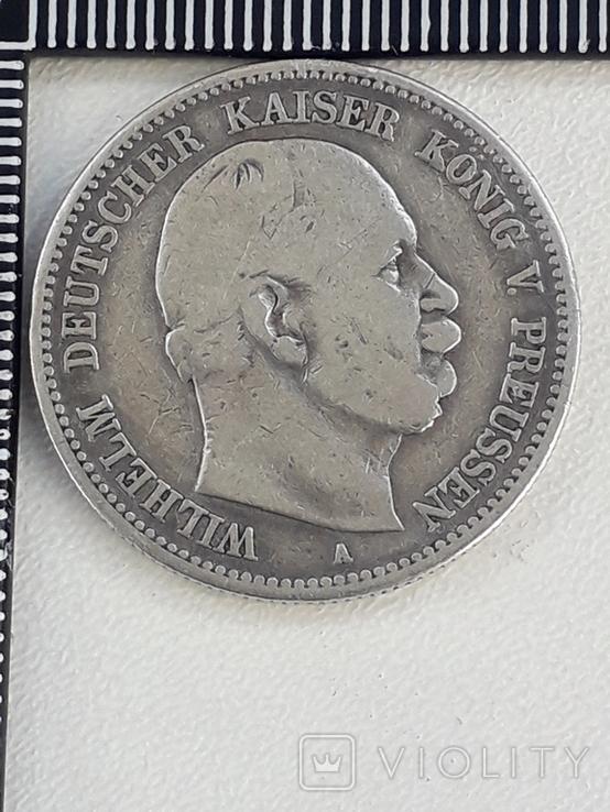 2 марки, Пруссия, 1876 год, Вильгельм I, серебро 0.900, 11,11 грамм, фото №2