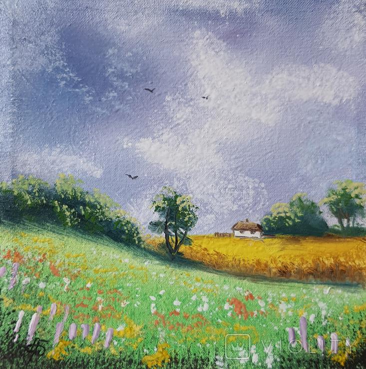 Картина, Хатинка за лугом та полем, 15х15 см. Живопис на полотні, фото №3