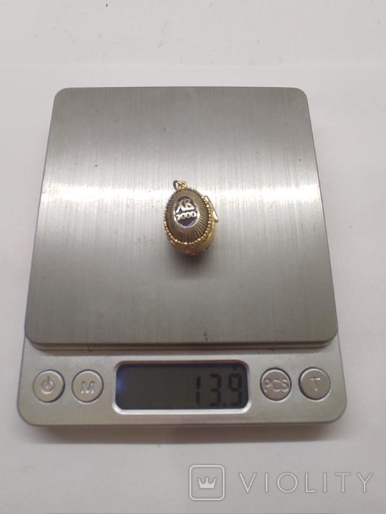Кулон мощевик золото 925 камень серебро, фото №3