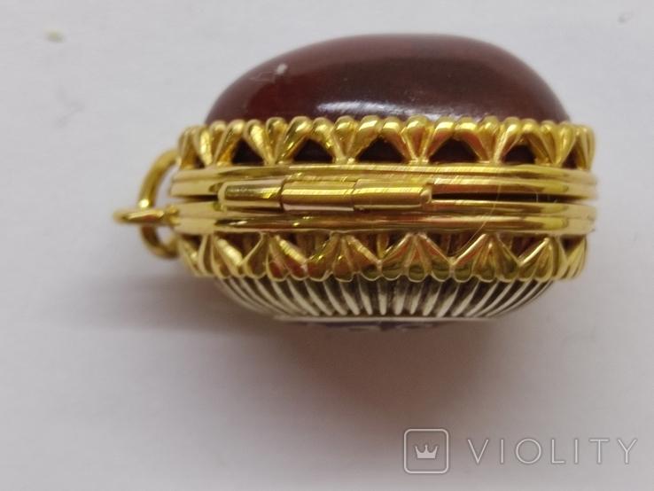 Кулон мощевик золото 925 камень серебро, фото №6
