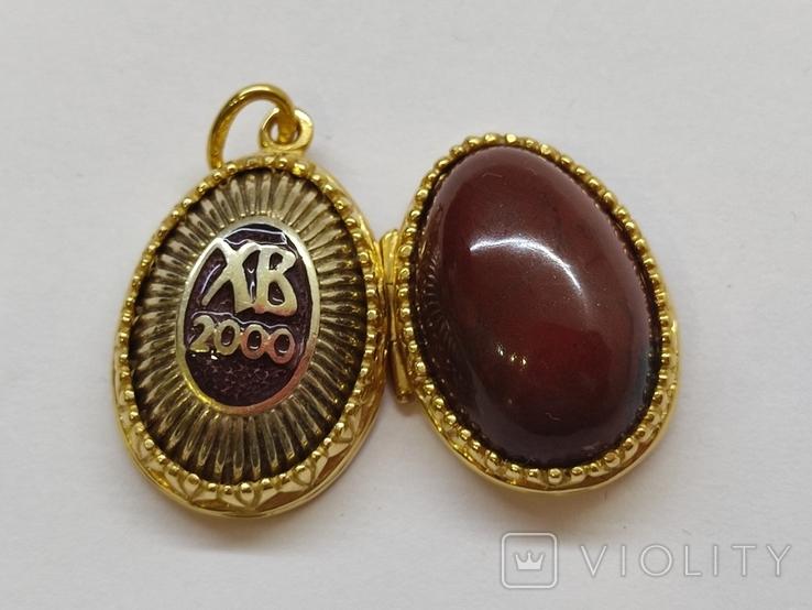 Кулон мощевик золото 925 камень серебро, фото №2
