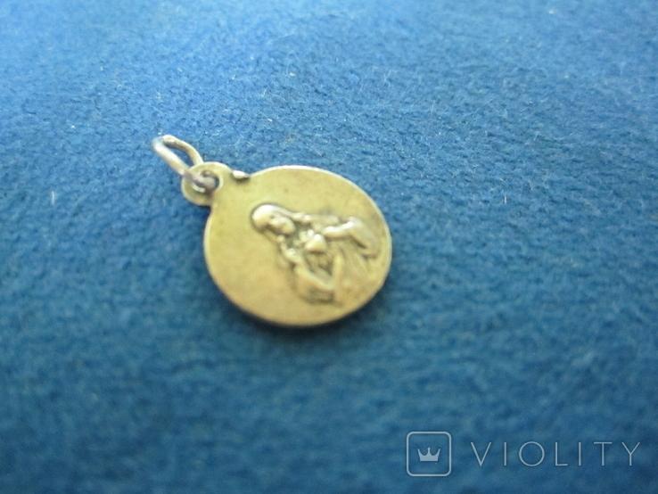 Кулончик-жетончик католический детский серебро., фото №4