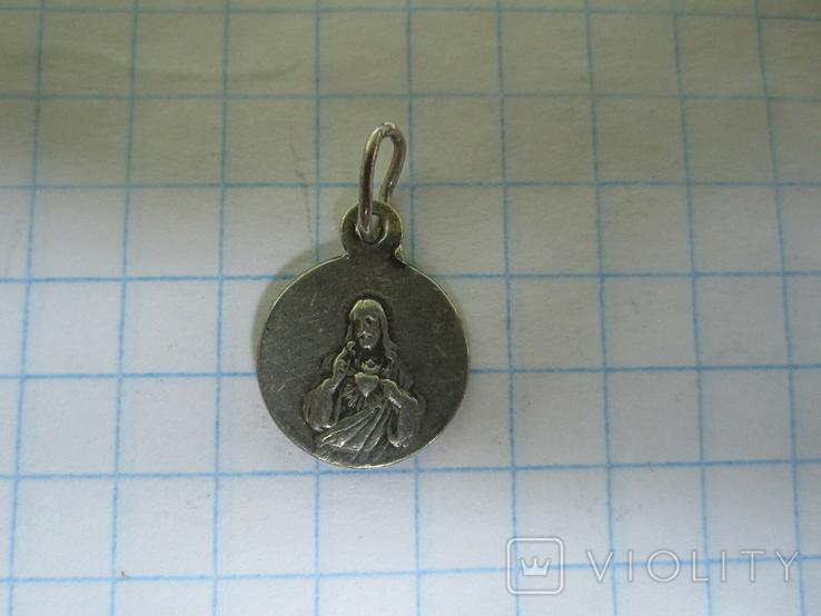 Кулончик-жетончик католический детский серебро., фото №7