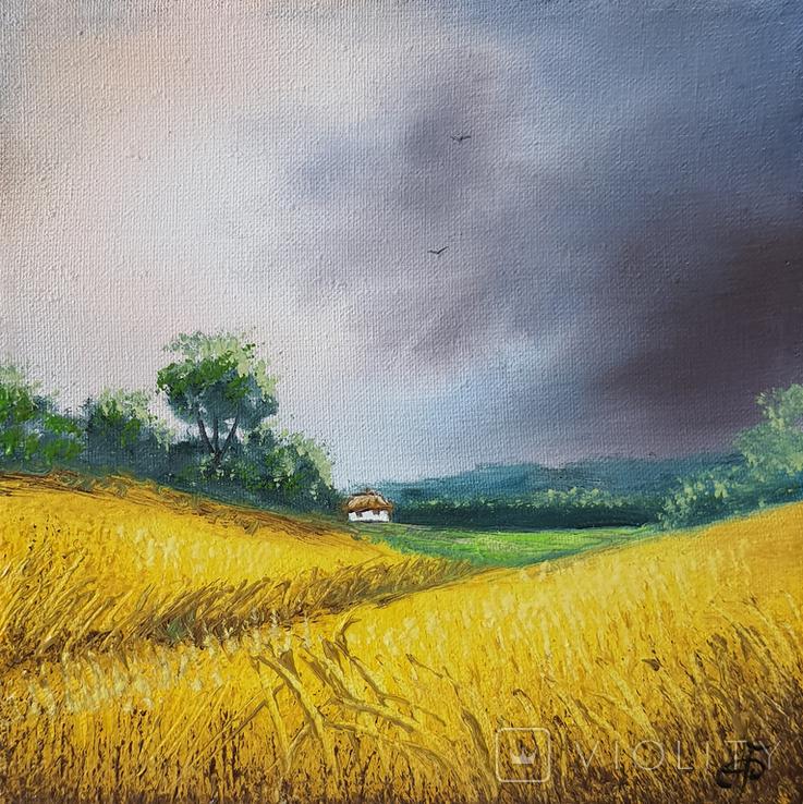 Картина, Небо над полями, 15х15 см. Живопис на полотні, фото №4