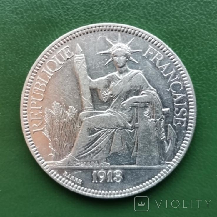 1 пиастр Индокитай 1913 г. Серебро, фото №3