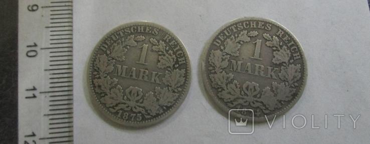 1 марка, две монеты, 1874, 1875 гг., фото №3
