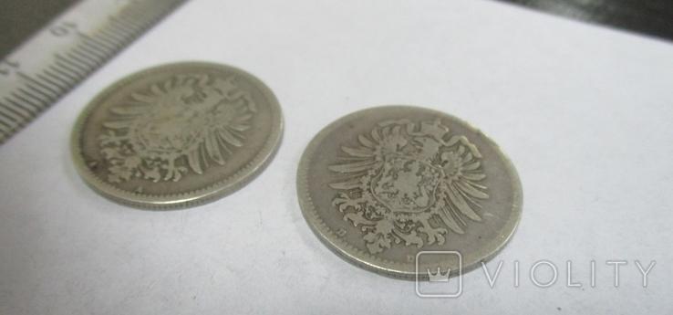 1 марка, две монеты, 1874, 1875 гг., фото №5