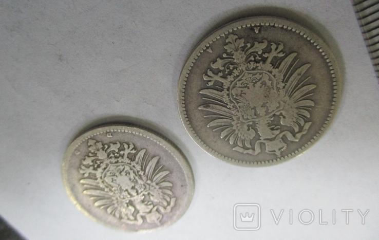 1 марка, две монеты, 1874, 1875 гг., фото №6