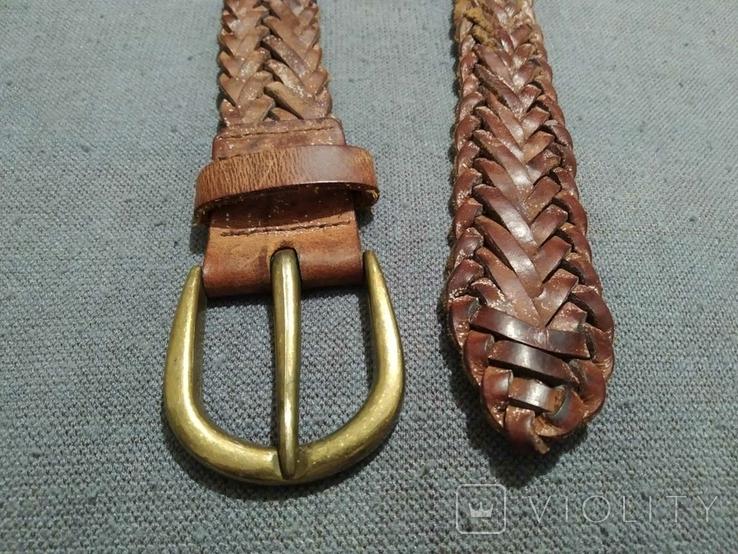 Пояс Старинный кожаный плетённый ремень Германия, фото №6