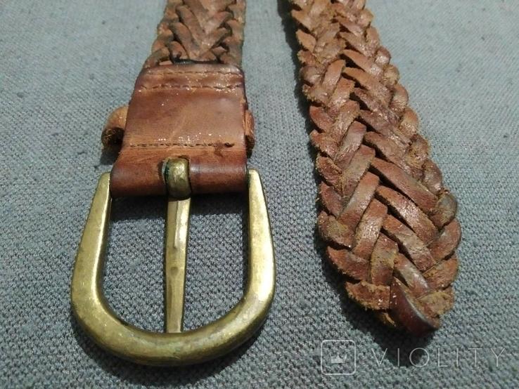 Пояс Старинный кожаный плетённый ремень Германия, фото №7