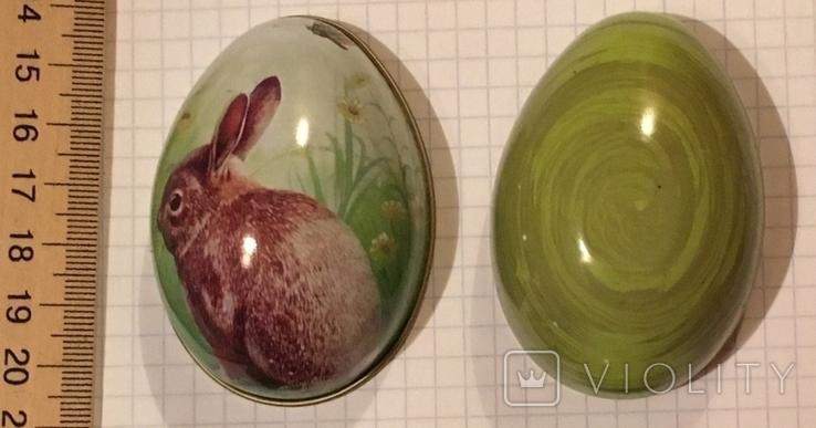 Шкатулка жестяная, пасхальное яйцо, зайчик (кролик), фото №6
