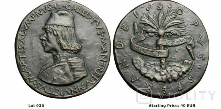 Современная медаль по типу Сперандио копия монеты, фото №13