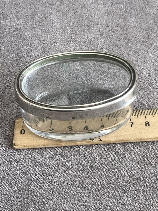 Старинная стекляная шкатулочка с гравировкой, ободок крышечки серебро 800 пр, фото №10