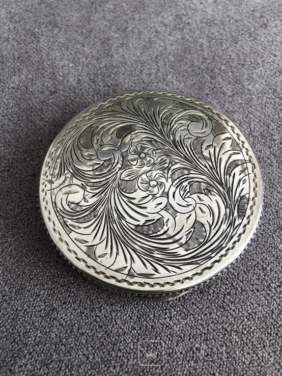 Винтажная серебряная пудреница с зеркалом, штихель (серебро 800 пр, вес 54 гр), фото №3