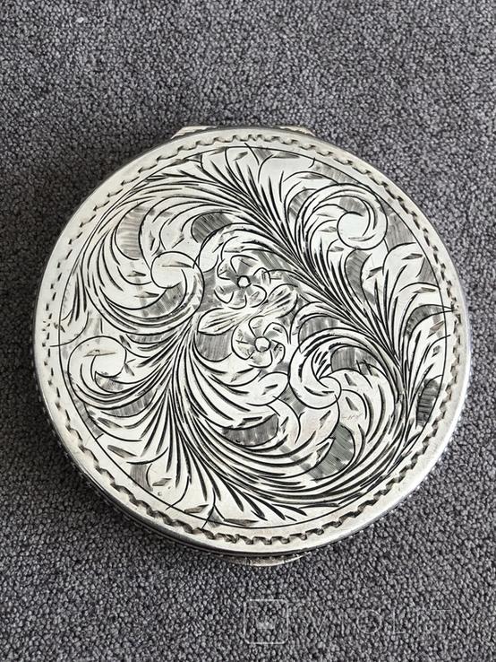 Винтажная серебряная пудреница с зеркалом, штихель (серебро 800 пр, вес 54 гр), фото №4