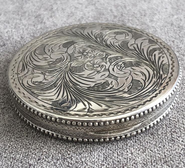 Винтажная серебряная пудреница с зеркалом, штихель (серебро 800 пр, вес 54 гр), фото №2