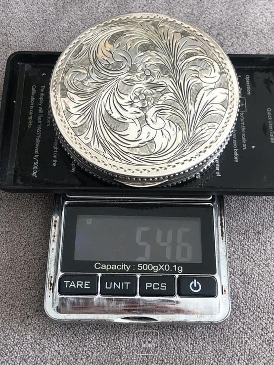 Винтажная серебряная пудреница с зеркалом, штихель (серебро 800 пр, вес 54 гр), фото №10
