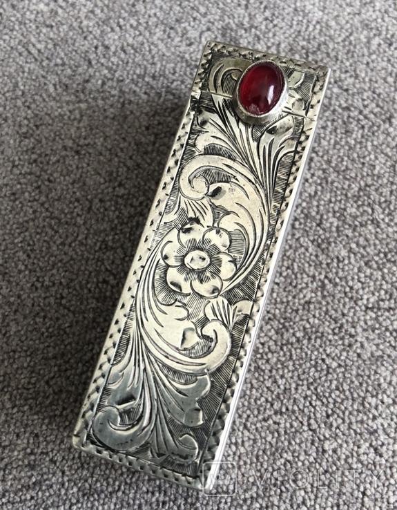 Серебряная винтажная помадница, штихель (серебро 925 пр, вес 27 гр) Италия, фото №2