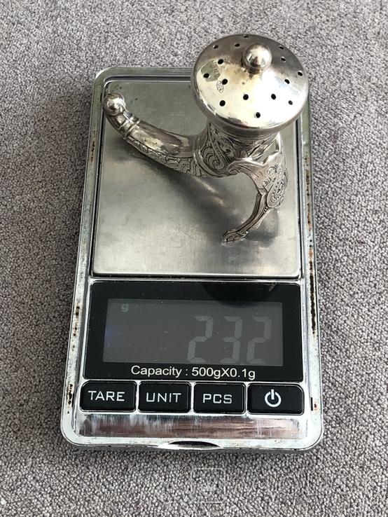Винтажная серебряная перечница (серебро 800 пр, вес 22,9 гр) Италия, фото №10
