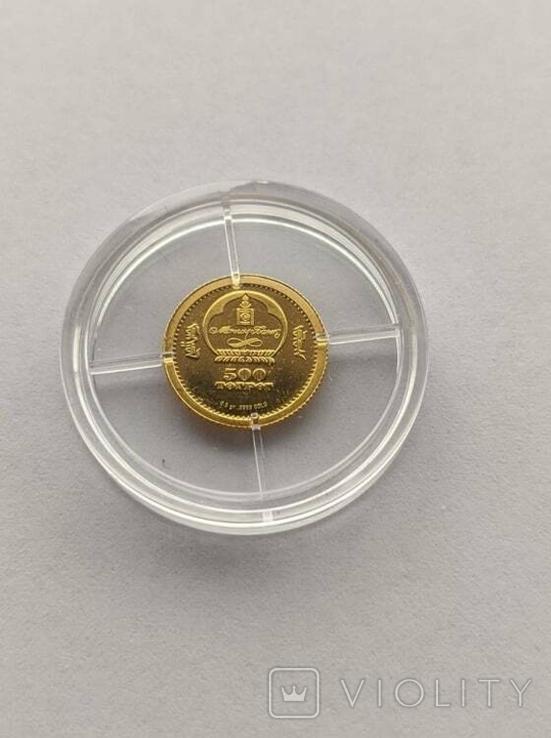 500 тугриков 2008 год Монголия золото 1/50 унц. 9999`, фото №3