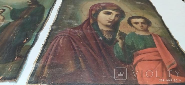 Иконы Богородицы и крещение господне написаны на коже 43/34см, фото №6